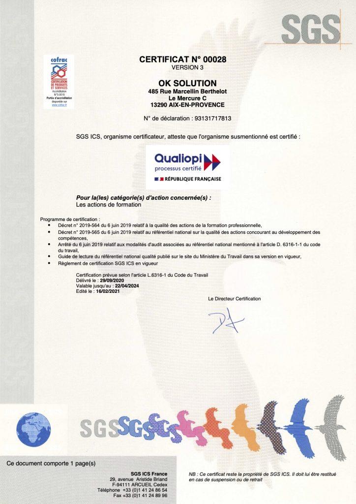 OK SOLUTION - Certificat 00028 - QUALIOPI - 3